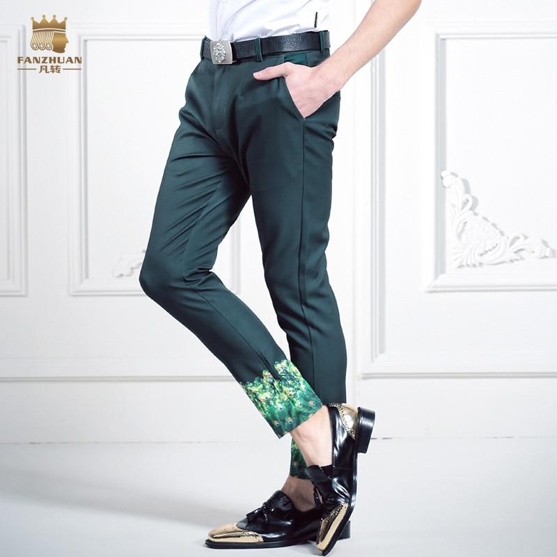 FanZhuan darmowa wysyłka nowy 2016, człowiek, męski slim spodnie na co dzień spodnie męskie spodnie dziewiątego 618035 spodnie cienkie spodnie moda zielony drukowane w Obcisłe spodnie od Odzież męska na  Grupa 1