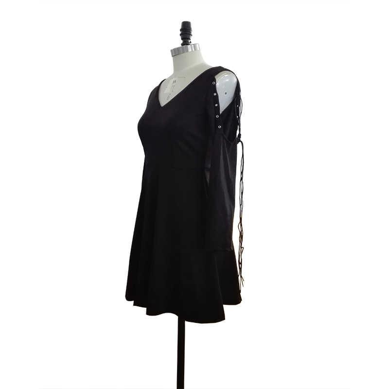 Rosetic Harajuku Goth col en V robe automne courte Mini robe obscurité mince Sexy fête Punk pansement petite robe plissée noire