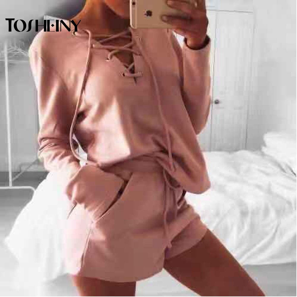 Tosheiny 2019 Women Sexy Cross Long Sleeve Solid Color Two Pcs Set Female Casual Playsuit TH9570