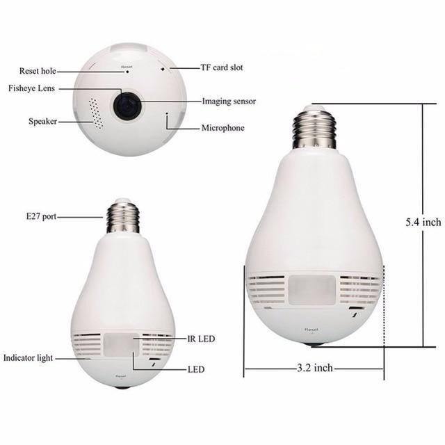 IP Camera Wi-Fi Bulb Lamp Fisheye Camera 360 Degree Wireless Panoramic Surveillance Security CCTV Camera Wifi IP Baby Monitor