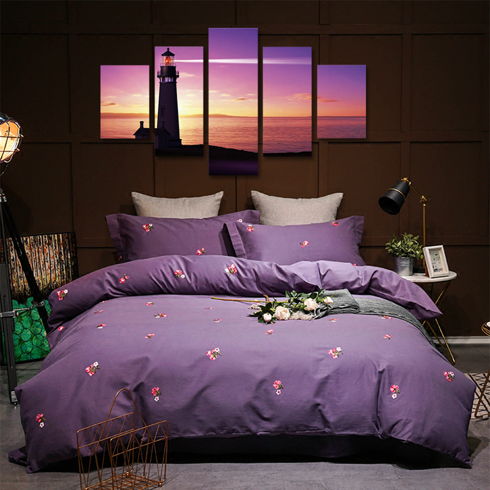 Unframed 5 panel HD Canvas Wall Art Giclee Painting Sunset Lighthouse Landscape For Living Room Home Decor Free Shipping