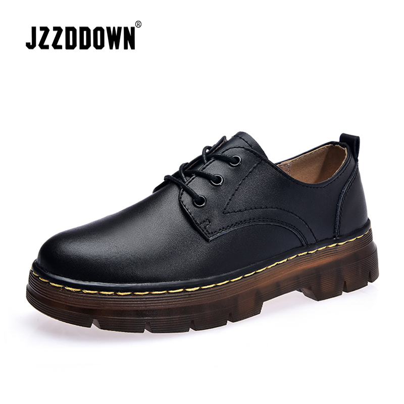 JZZDDOWN Large Size womens leather shoes round toe Genuine Leather Shoes Woman Loafers Ladies shoes oxford zapatos para mujerWomens Flats   -