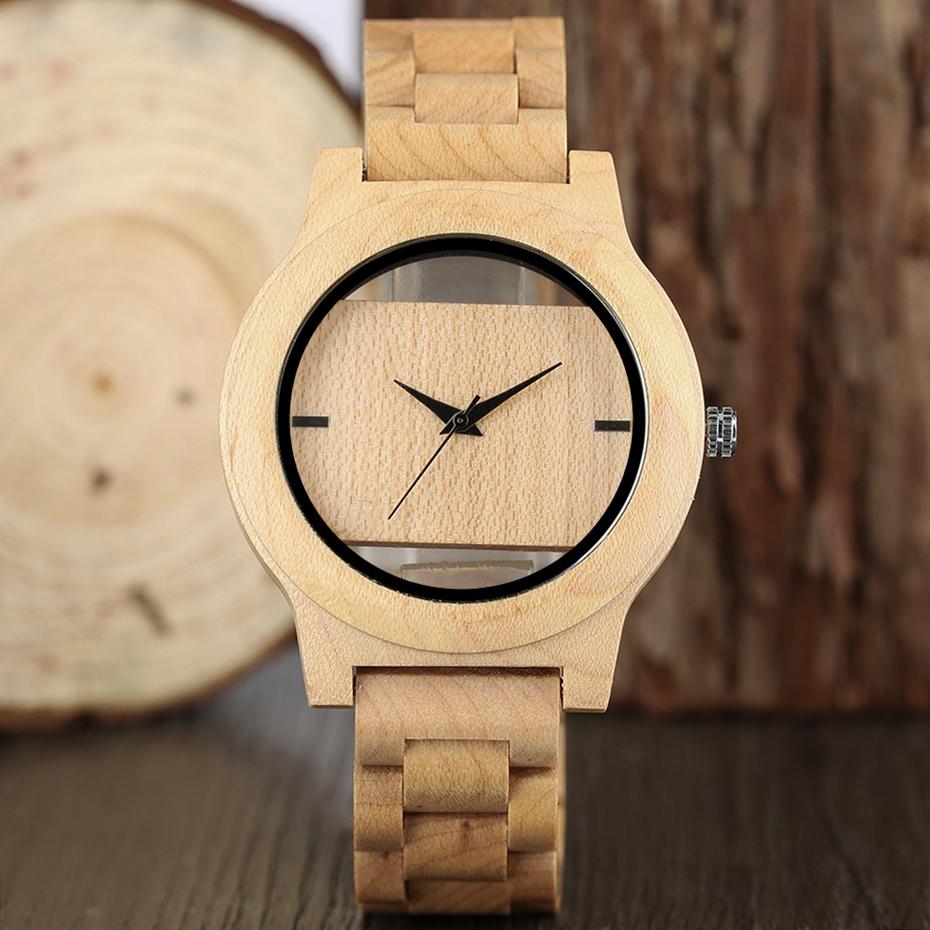 YISUYA Mens Women Natural Wood Watches Full Wooden Bamboo Wristwatch Fashion Hollow Dial Design Quartz Novel Handmade Clock Gift 2017 (16)