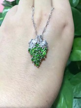 natural green diopside pendant S925 silver Natural gemstone Pendant Necklace trendy Luxury grape string women fine jewelry