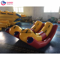 Commercial customized 0.9mm pvc inflatable water seesaw double tubes inflatable floating teeterboard for aqua park