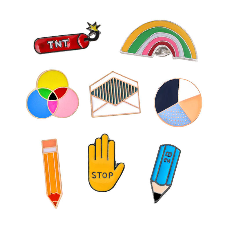 US $0.64 40% OFF|Fashion Cute Child Cartoon Badge Brooches TNT Pencil Stop Rainbow Colorful Enamel Pins Jeans Bag Button Lapel Pin Women