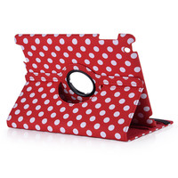 Newest 360 Degree Rotating Leather Case For IPad 2 3 4 With Standby Function Polka Dot