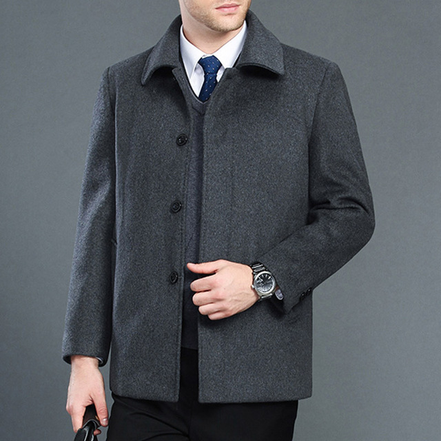 High quality cashmere coat men new style winter wool overcoat male turn down collar single breasted woolen outerwear 2 styles 1