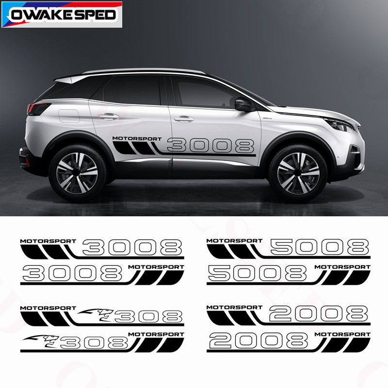 Car Styling Door Side Skirt Strips Stickers For Peugeot 308 3008 2008 5008 Motor Sport Graphics Body Customized Vinyl Decal