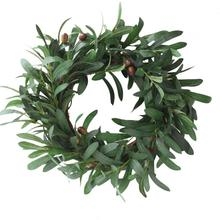 Olive Leaf Wreath Christmas Ornaments Branch Wreath Straw Door Hanging Garland Wedding Decoration Artificial Flowers Fancy
