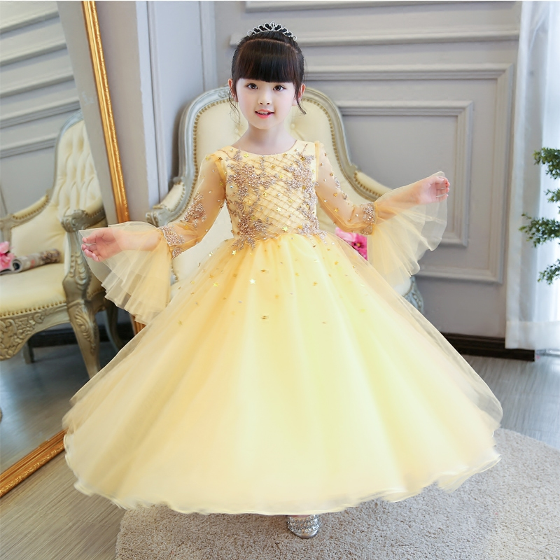 New Luxury Girls Princess Dress Dress 2017 Summer Kids Champagne Wedding Birthday Pageant Long Dresses Children Clothes Size3-15 sunny fashion girls dress butterfly party birthday sundress 2017 summer princess wedding dresses kids clothes size 5 12 pageant