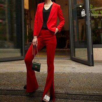 Custom fashion new red suit two-piece suit (jacket + pants) Slim solid color suit women's business office formal suit