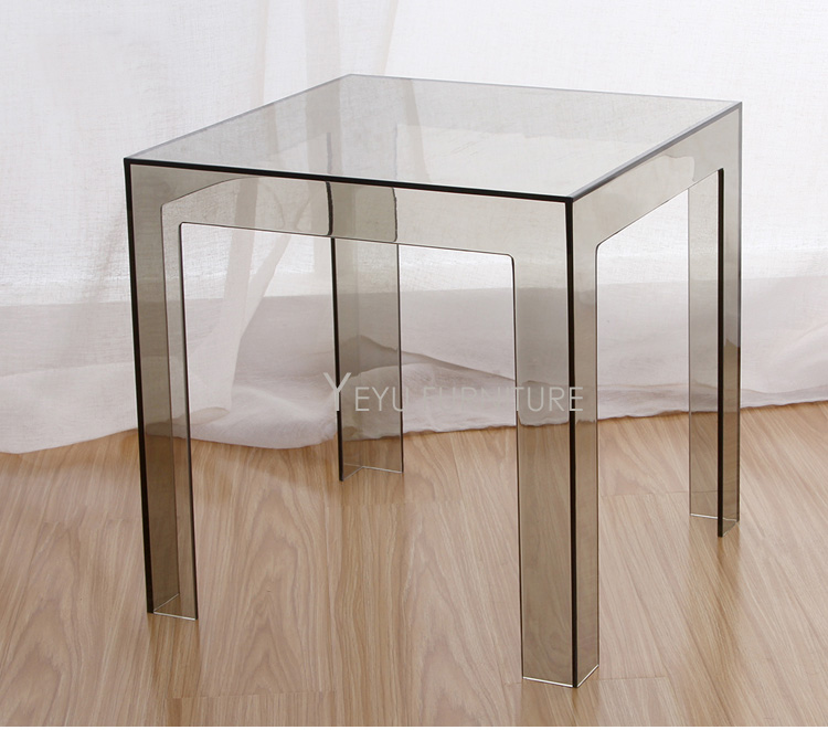 Small Living Room With No Coffee Table Dark Gray Couch Minimalist Modern Design Transparent Polycarbonate Pc ...