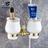 Yanjun Jade Stone Double Cup Tumbler Holder Brass Golden Wall Mounted Toothbrush Cup Holder Bathroom Accessories