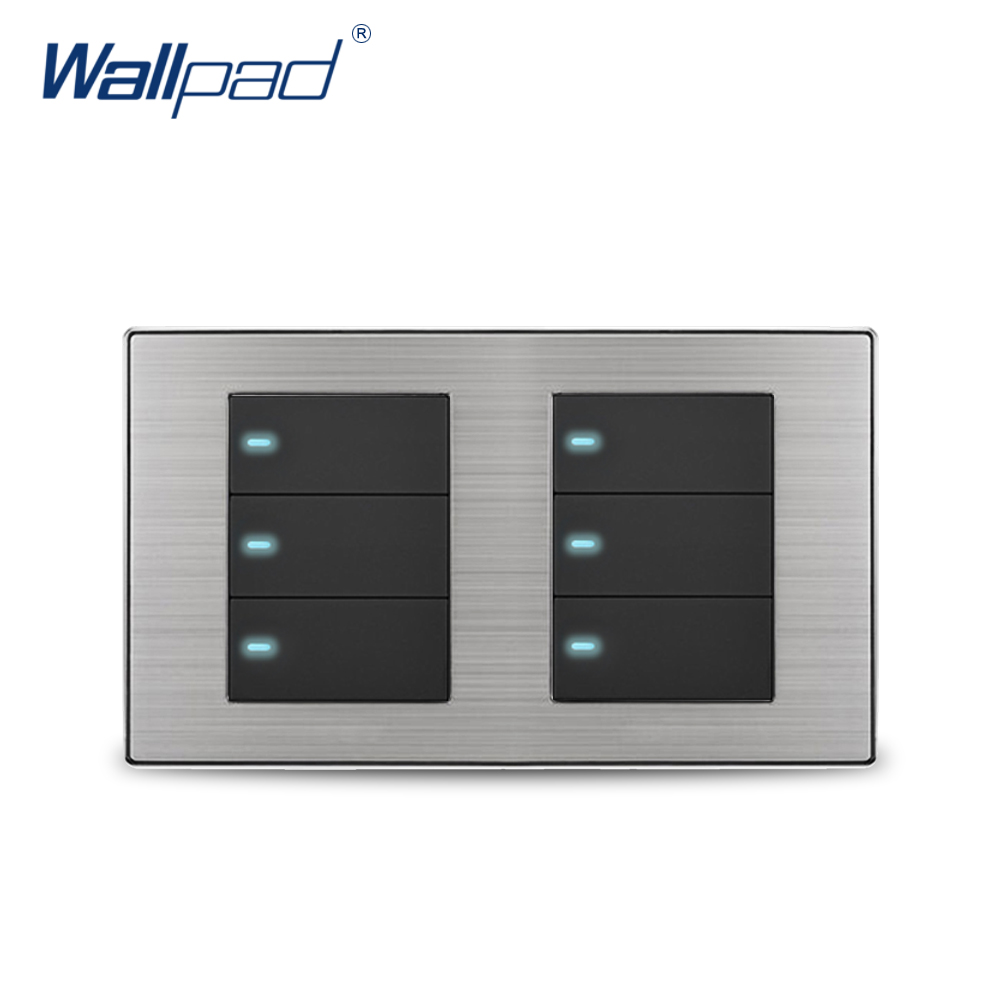 Wallpad 6 Gang 2 Way Wall Switch With LED Indicator Luxury Satin Metal Panel Wall Light Switch 10A AC110~250V 160*86mm free shipping wallpad luxury wall switch panel doorbell switch x6 series 10a 86 86mm 110 250v