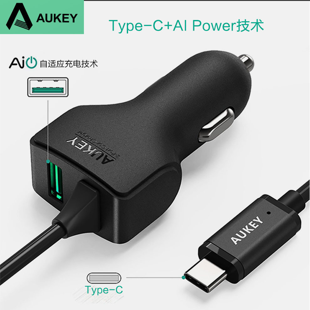AUKEY AIPower Car phone Charger with Type-C cable (5)