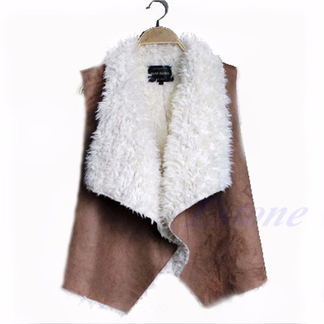 Women Faux Fur Vest Jacket Coat Sleeveless Waistcoat Gilet Jacket Outwear Coat