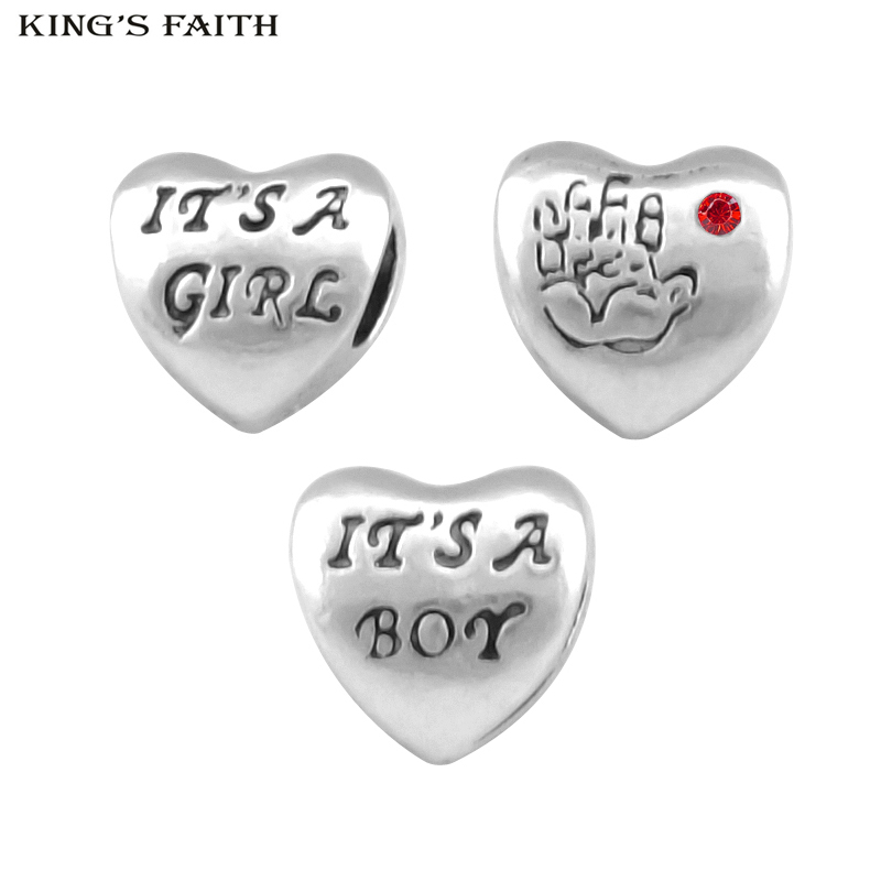 KINGS FAITH Silver Color Its A Boy And Its A Girl Bead Fit Pandora Charms Bead Bracelets diy Fashion Jewelry Making SPP007