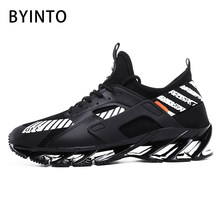 2019 New Men Tennis Shoes Breathable Blade Bounce Mesh Sock Sneakers Gym Sport Boots Leisure Shoes Tenis Masculino Baskets Homme(China)