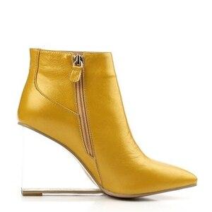 Image 4 - ALLBITEFO size33 41 العلامة التجارية أزياء النساء الأحذية جلد طبيعي الكريستال أسافين حذاء من الجلد النساء أحذية الحفلات امرأة عالية الكعب أحذية