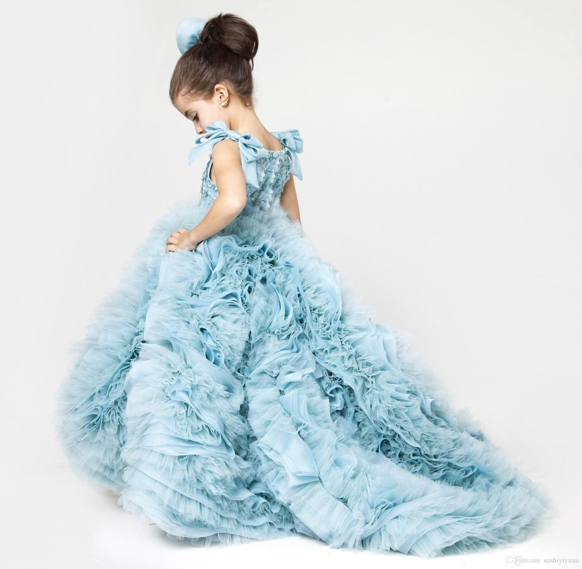 Cute Little Girl Dress Blue Ruffles Puffy Dresses Kids Evening Gowns ...