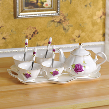 4piece-set European Tea Set Ceramic Coffee Cup Suit British Style High-Grade Bone China With Spoon gifts