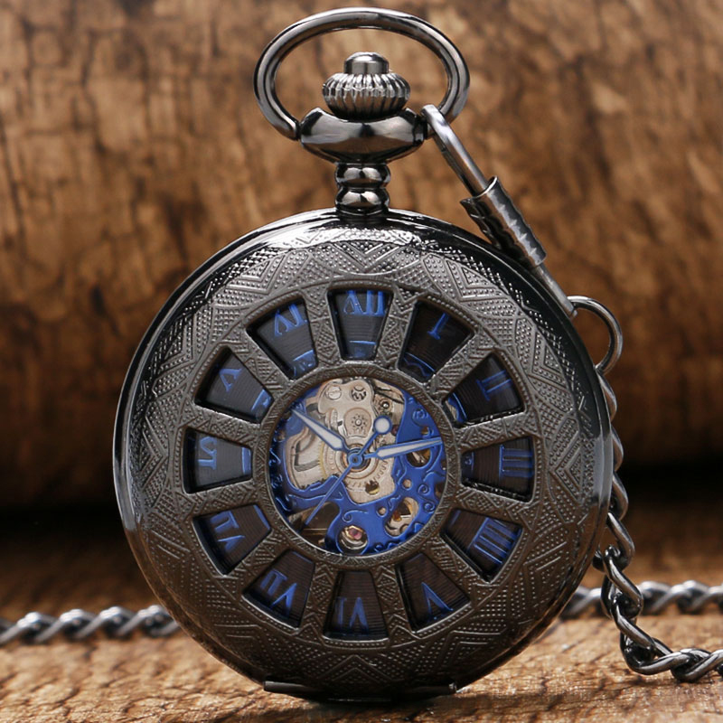 Fashion Carriage Wheels Case Design With Blue Roman Number Skeleton Fob Mechanical Pendant Pocket Watch With Chain