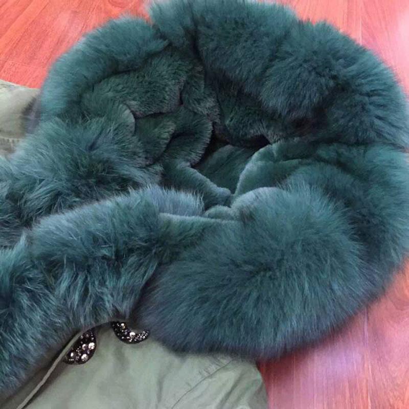 Army Green jacket Dark green fox fur hood & cuff with high quality lining faux fur coat jacket green