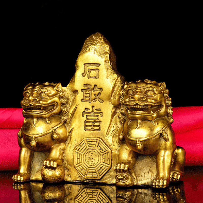Animal Decoration, Pure Copper, Taishan Stone Dare, Ornaments, Double Lion, Town House, Phlegm, Feng Shui, Copper Lion, Crafts