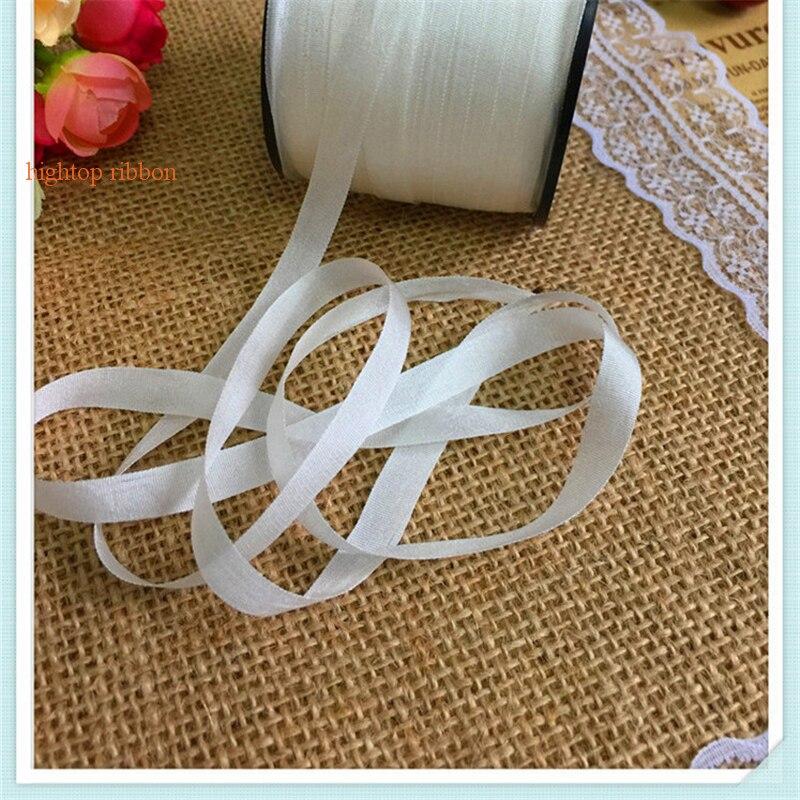8mm * 200 m par rouleau blanc Véritable non teint blanc ruban de soie pure pour la broderie et le projet de l'artisanat livraison gratuite