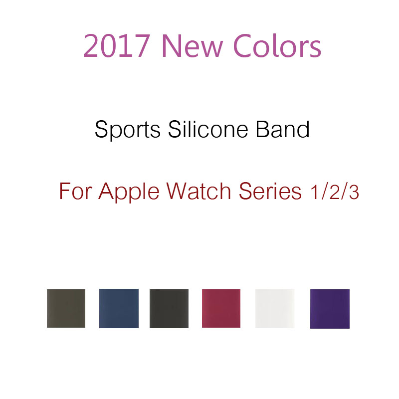 2017 New Colors Sport Band for Apple Watch Series 3 2 1 Silicone Strap for iWatch 42mm 38mm Replacement Wristband original xiaomi pro hd in ear hybrid earphones