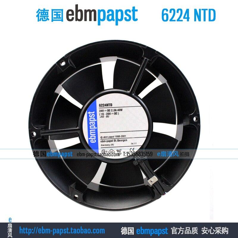 Original new ebm papst 6224NTD DC 24V 2.0A 48W 172X51mm Server Round fan new original ebm papst iq3608 01040a02 iq3608 01040 a02 ac 220v 240v 0 07a 7w 4w 172x172mm motor fan