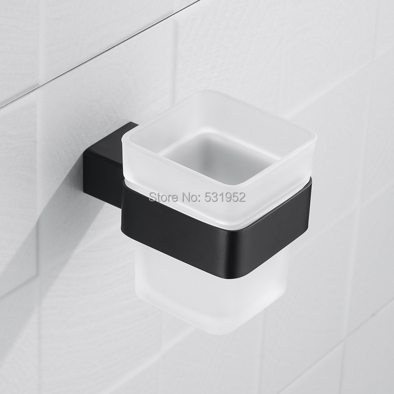 MATT BLACK Square Toothbrush Holder Stainless Steel Toothbrush Tumbler&Cup Holder Wall Mount Stainless Steel image
