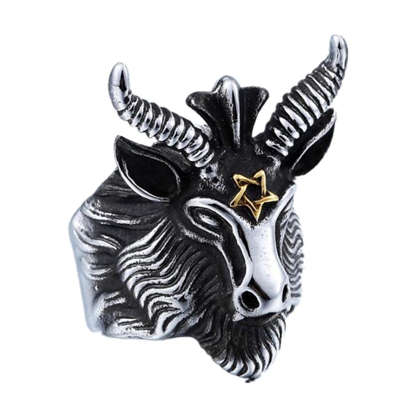 DoreenBeads Anillo de punky de cabeza de oveja Hombres Joyería de acero inoxidable Moda Vintage Satanás Gran cabra Animal Hombres Anillos Envío gratis