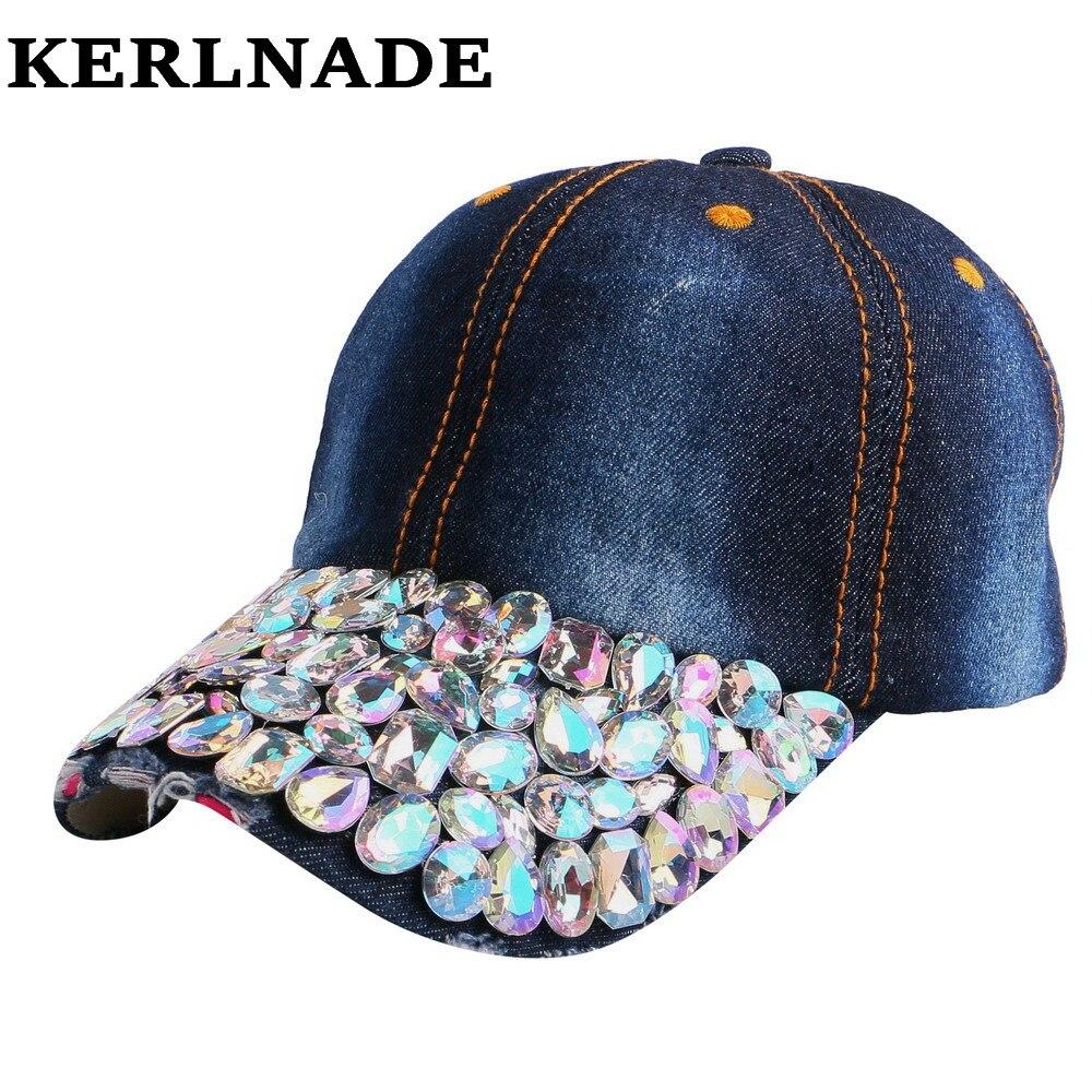 Prix pour Nouveau femmes marque casquette de baseball avec coloré de luxe strass perles de pierre gemme de Bonne qualité denim main personnalisé marque fille casquettes