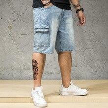 Denim Shorts Männlichen Plus Größe 4XL 5XL 6XL 7XL Jeans Shorts Männer Große Große Größe Bermuda Elastische Taille Band Gerade fit Reithose Männer