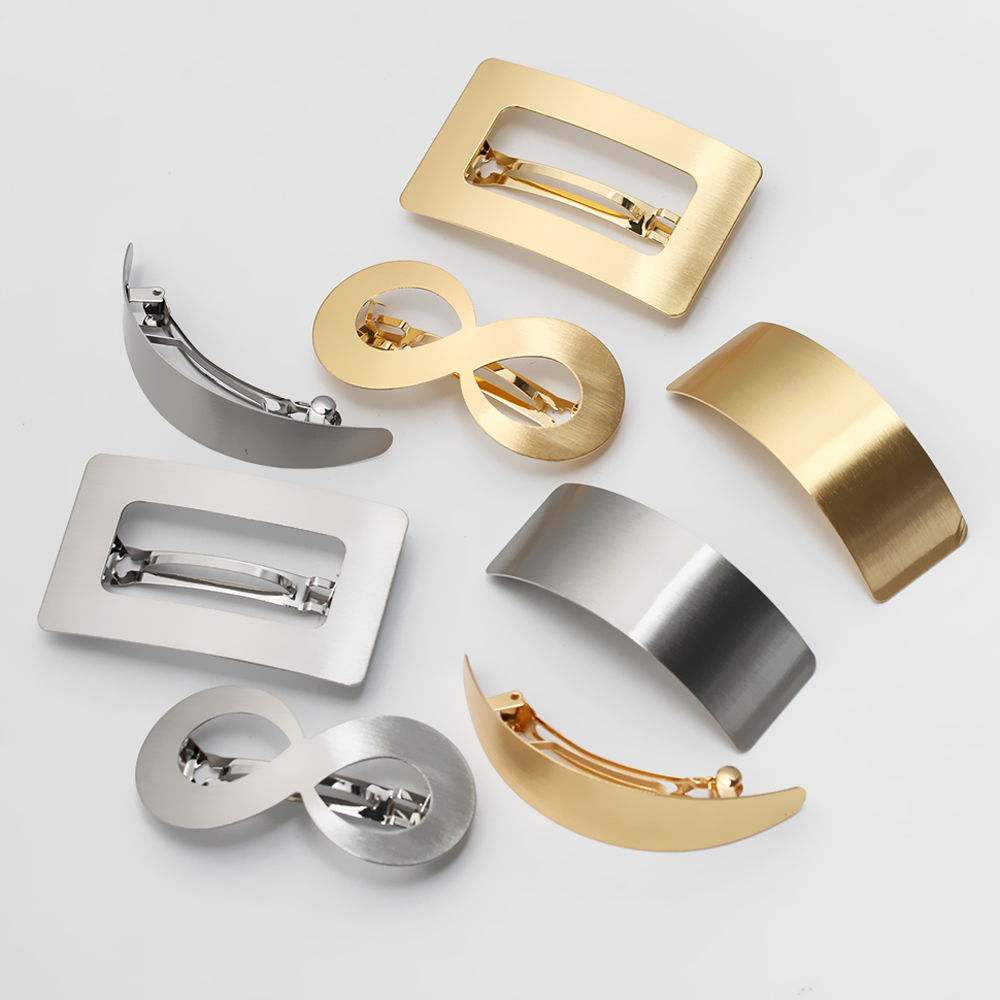 European/American Style Woman Girl Hair Styling Metal Gold Hair Clip Lazy Wind Geometry Hair Clip Accessories