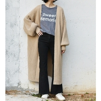 SuperAen Knitted Sweater Cardigan Lazy Solid Color Korean Version Of The Loose Long Section Of The