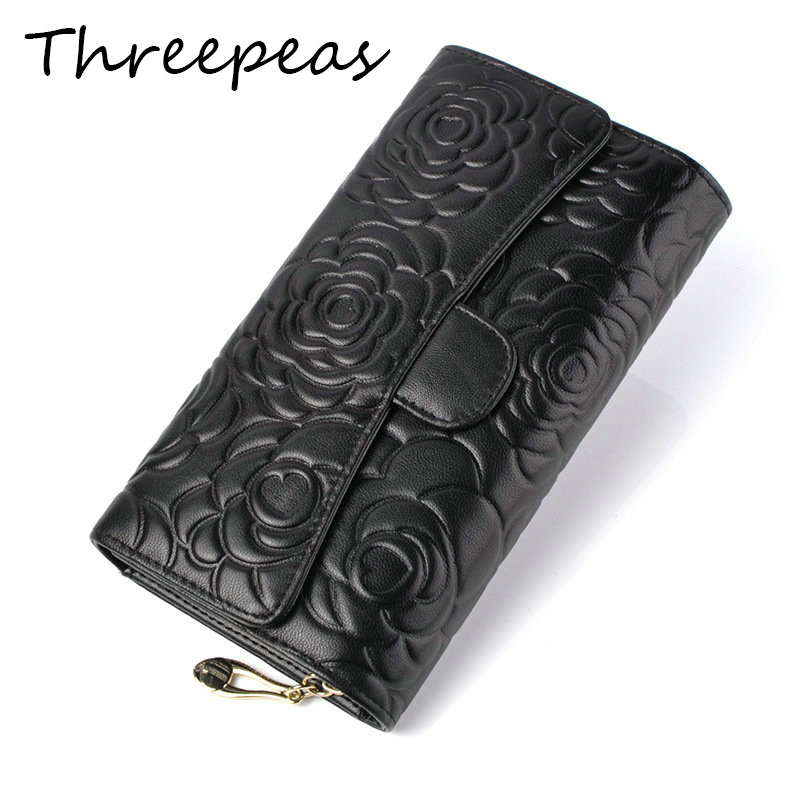 THREEPEAS Floral Wallet Women Long Design Lady Hasp Clutch Wallet Genuine Leather Female Card Holder Wallets Coin Purse high quality floral wallet women long design lady hasp clutch wallet genuine leather female card holder wallets coin purse