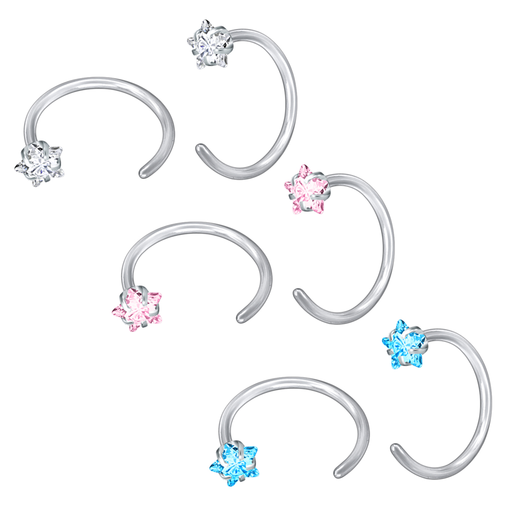 ZS Shiny Crystal Nose Stud Stainless Steel Body Jewelry 3 Colors Nose Nail Studs Nose Studs Nostril Piercings Jewelry nariz ring