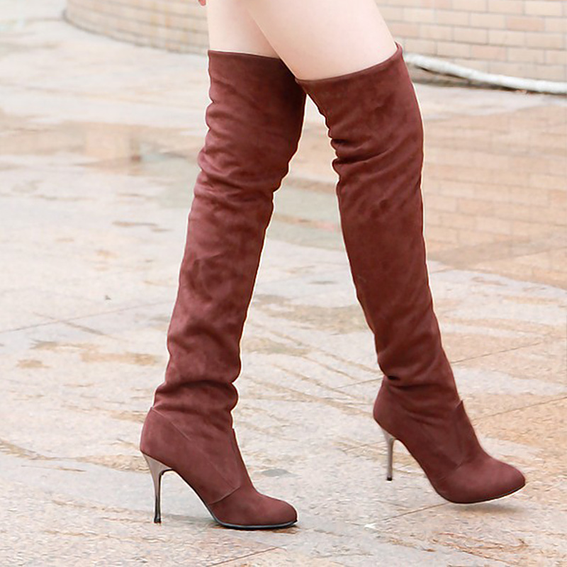 Women Boots Thigh High Boots Sexy Fashion Over the Knee Boots Shoes Woman Women's Winter Shoes Footwear 2017 sexy thick bottom women s over the knee snow boots leather fashion ladies winter flats shoes woman thigh high long boots
