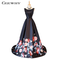 CEEWHY Floral Printed Long Evening Dresses Prom Dresses Formal Evening Gown Vestido De Festa Court Train
