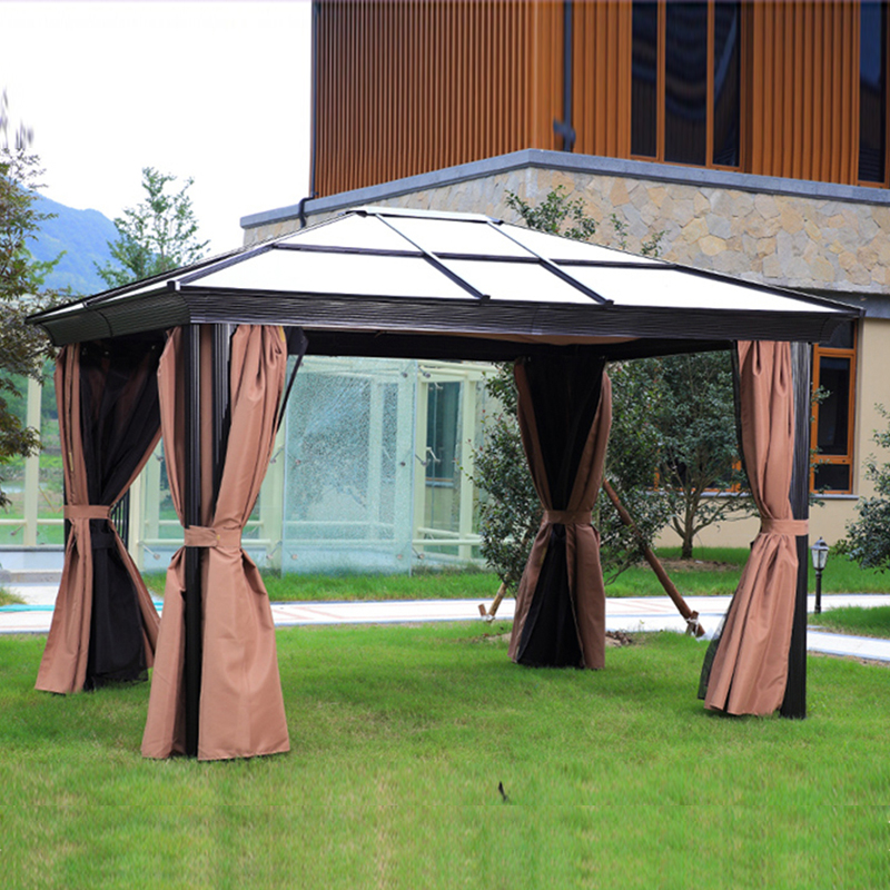 3 3 6 Meter Patio Polycarbonate Gazebo Withstand Snow Canopy Hardtop Gazebo With Brown Mosquito Netting Screen Walls Curtains Garden Gazebo Outdoor Paviliongazebo Pavilion Aliexpress