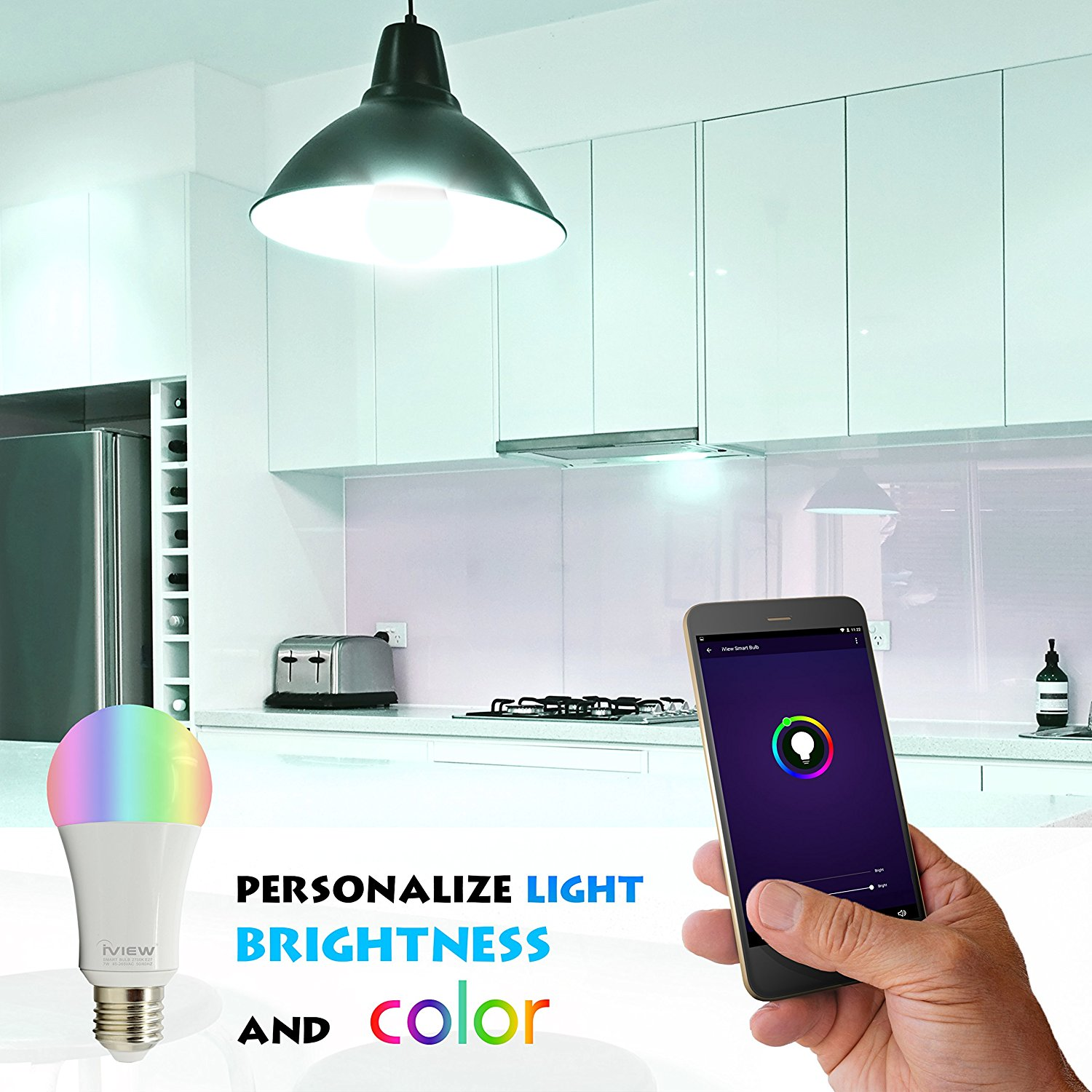 ISB600 Smart WiFi LED Bulb, Multi-Color, Dimmable, Repeater Free, Free APP Remote Control, Amazon Alexa and Google Assistant C