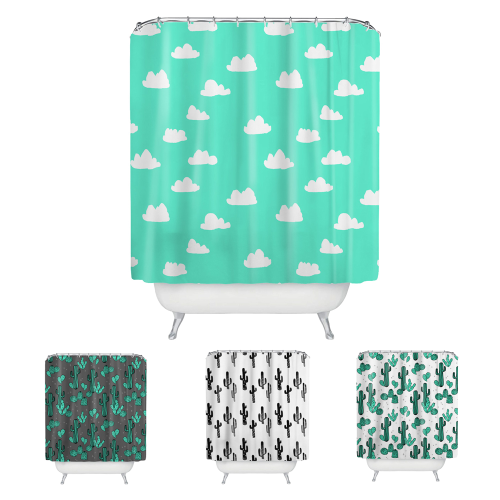 Clouds Cactus Plant Pattern Bathroom Shower Curtain Polyester Fabric Waterproof Sanitary Bath