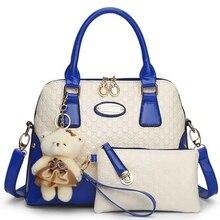 2017 new casual Relief designer sacs à main Socialite femmes messenger sacs de mode d'épaule sac 2 bags/set avec ours jouet S-1943