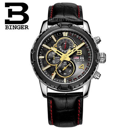 2017 Brand Binger Japanese movement watches men luxury Logo high-grade leather Automatic Chronograph watch Army men wristwatches