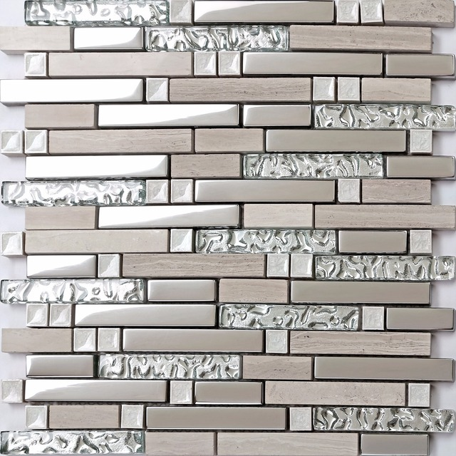 Grey Marble Interlocking Glass Tile Silver Backsplash for ...