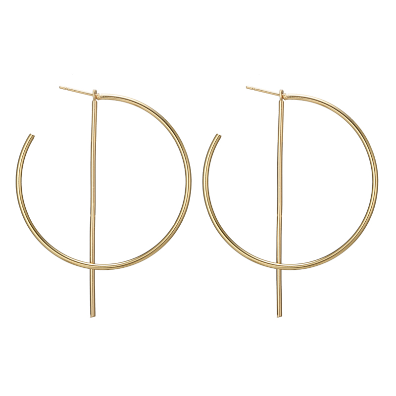 docona Trendy Gold Silver Color Big Abstract Cicle Drop Earrings for Women Punk Round Dangle Earrings Statement Jewelry 4177