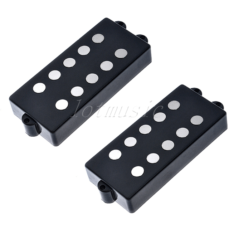 2Pcs Belcat 5 String Bass Humbucker Double Coil Pickup Black For Bass Guitar Replacement belcat electric guitar pickups humbucker alnico 5 humbucking bridge neck chrome double coil pickup guitar parts accessories